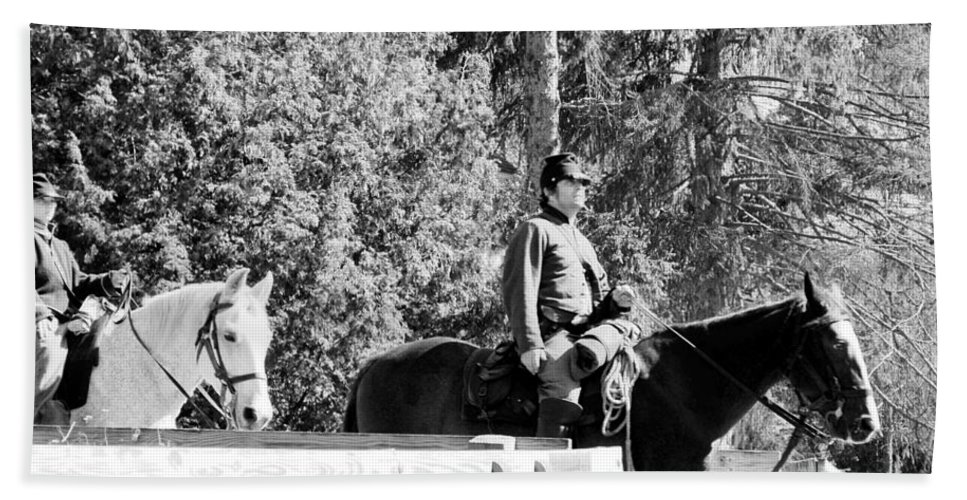 Usa Beach Towel featuring the photograph Riding Soldiers B And W II by LeeAnn McLaneGoetz McLaneGoetzStudioLLCcom