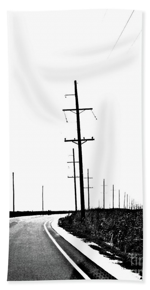 Highway Beach Towel featuring the digital art Riding The Line by Lizi Beard-Ward