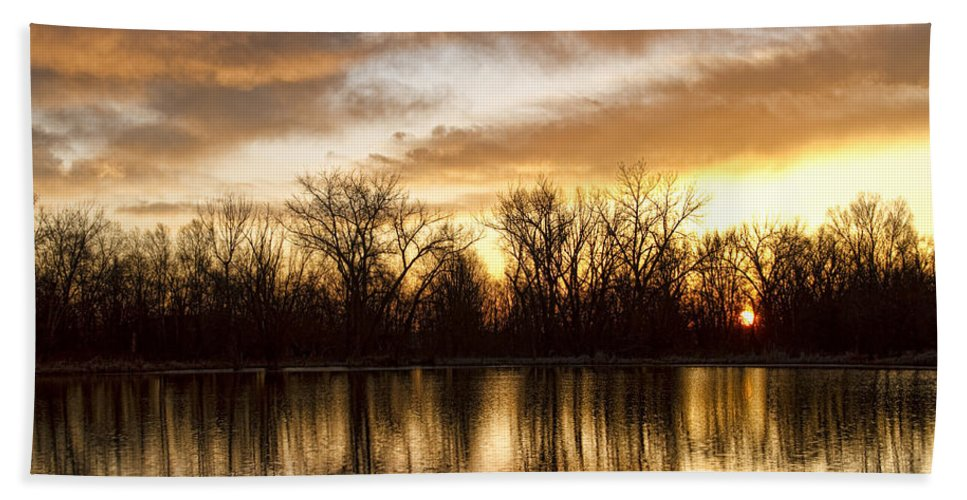 Sunrise Beach Towel featuring the photograph Rising Sun At Crane Hollow by James BO Insogna