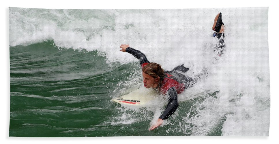 River Beach Towel featuring the photograph River Surfing by Bob Christopher