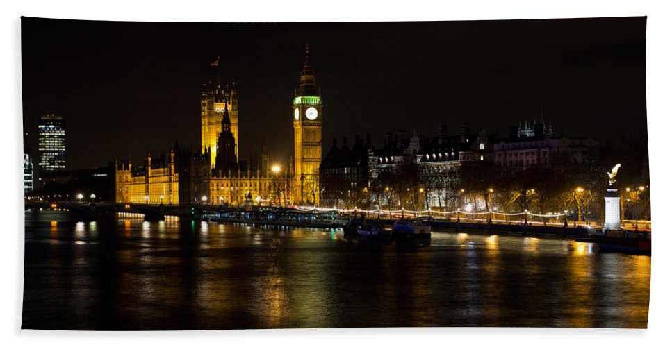 London Beach Towel featuring the photograph River Thames And Westminster Night View by David Pyatt