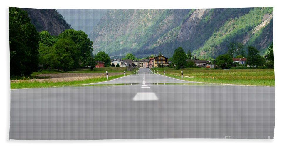 Road Beach Towel featuring the photograph Road And Mountain by Mats Silvan