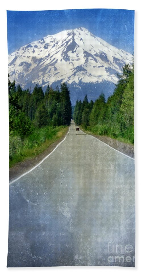 Snow Covered Mountain Beach Towel featuring the photograph Road Leading To Snow Covered Mount Shasta by Jill Battaglia
