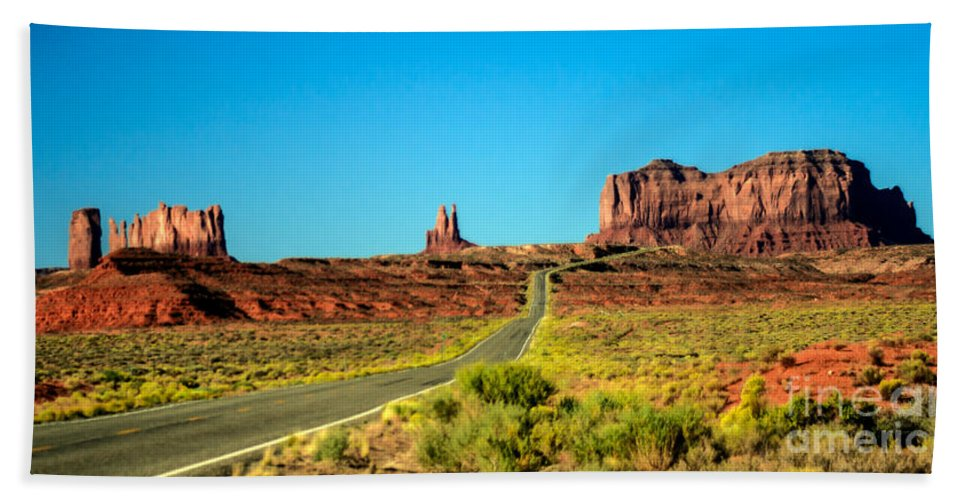 Monument Valley--navajo Beach Towel featuring the photograph Road To Paradise by Robert Bales