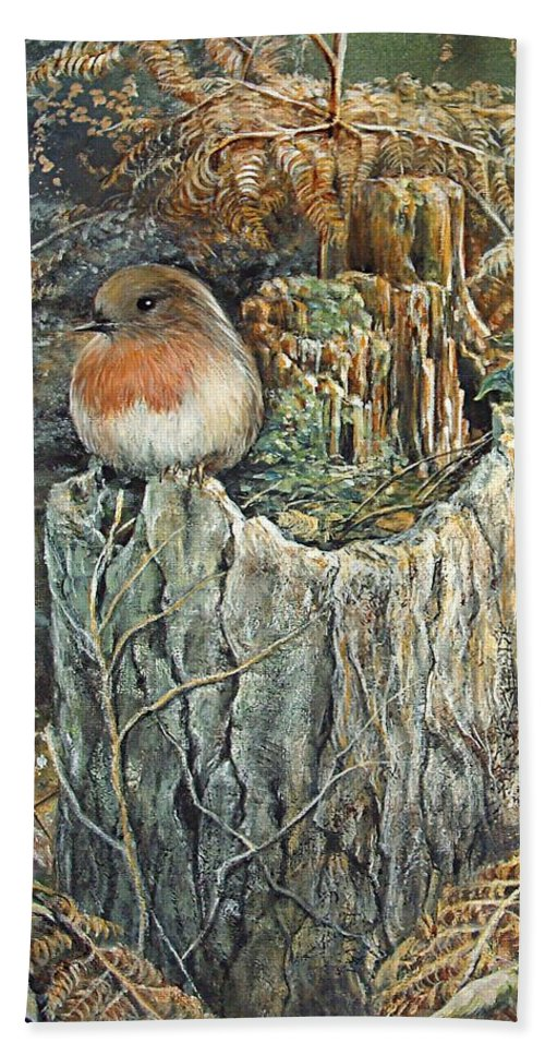 Wildlife Beach Towel featuring the painting Robin Christmas Card by Penny Golledge