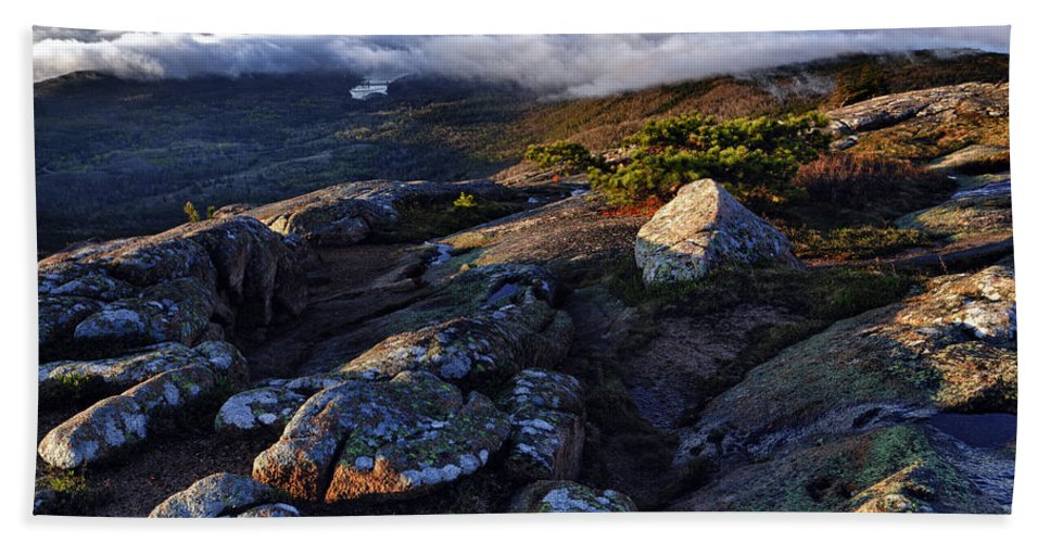 Cadillac Mountain Beach Towel featuring the photograph Rock And Fog by Rick Berk