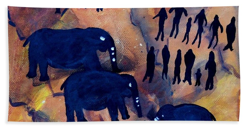 Rock Art Beach Towel featuring the painting Rock Art No 3 Elephant Sighting by Caroline Street