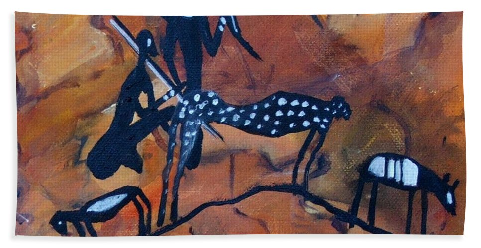 Rock Art Beach Towel featuring the painting Rock Art No 5 Cheetah's Viewpoint by Caroline Street