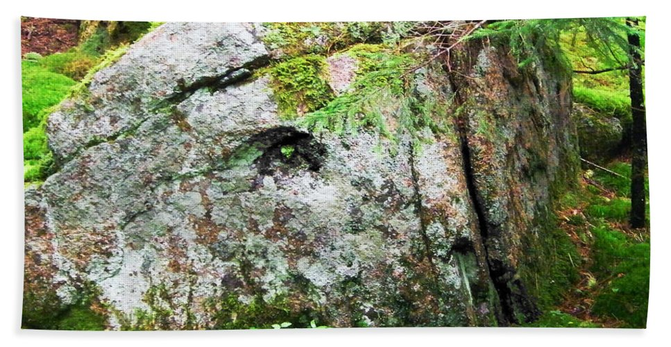 Rock Beach Towel featuring the digital art Rock Spirits Keeping Secrets by Lizi Beard-Ward