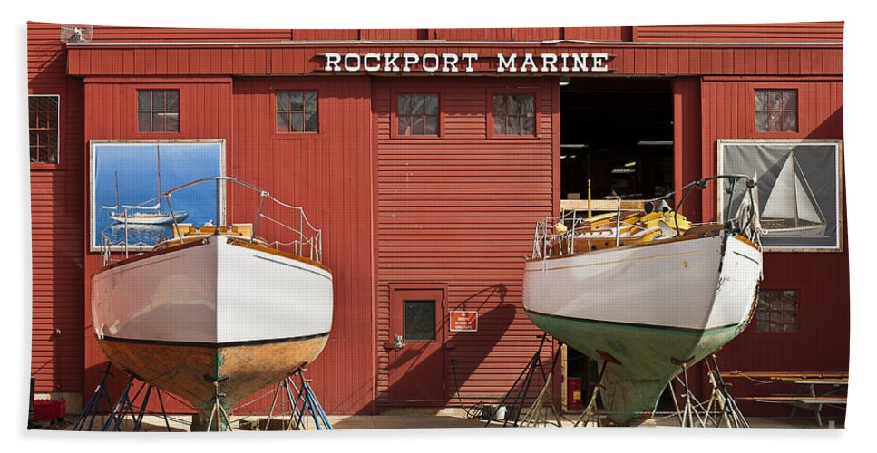 Boat Builder Beach Towel featuring the photograph Rockport Marine by John Greim