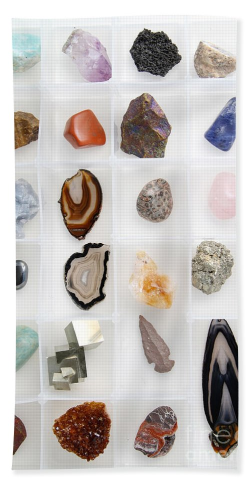 Still Life Beach Towel featuring the photograph Rocks And Minerals by Photo Researchers