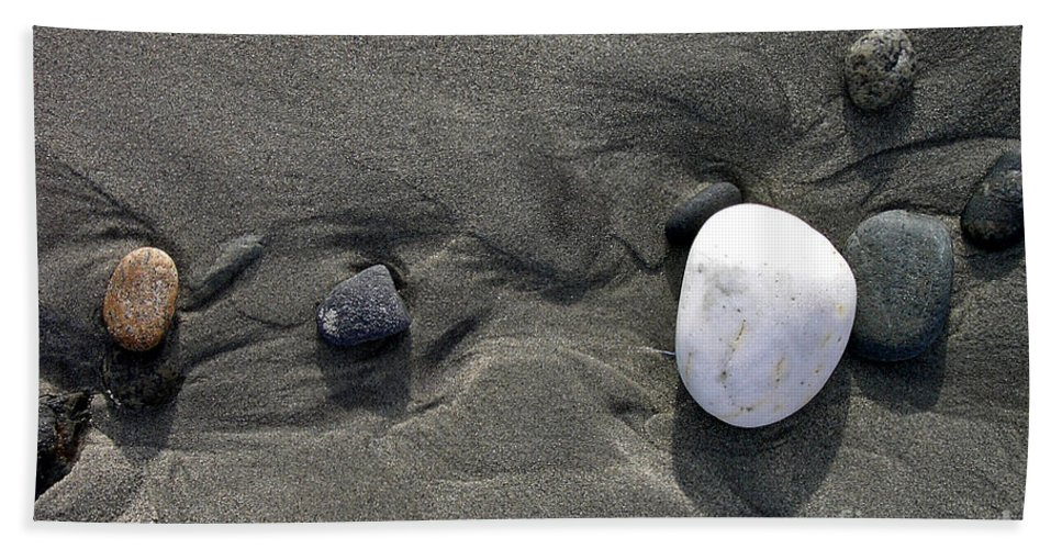 Rocks Beach Towel featuring the photograph Rocks And Sand by Mike Nellums