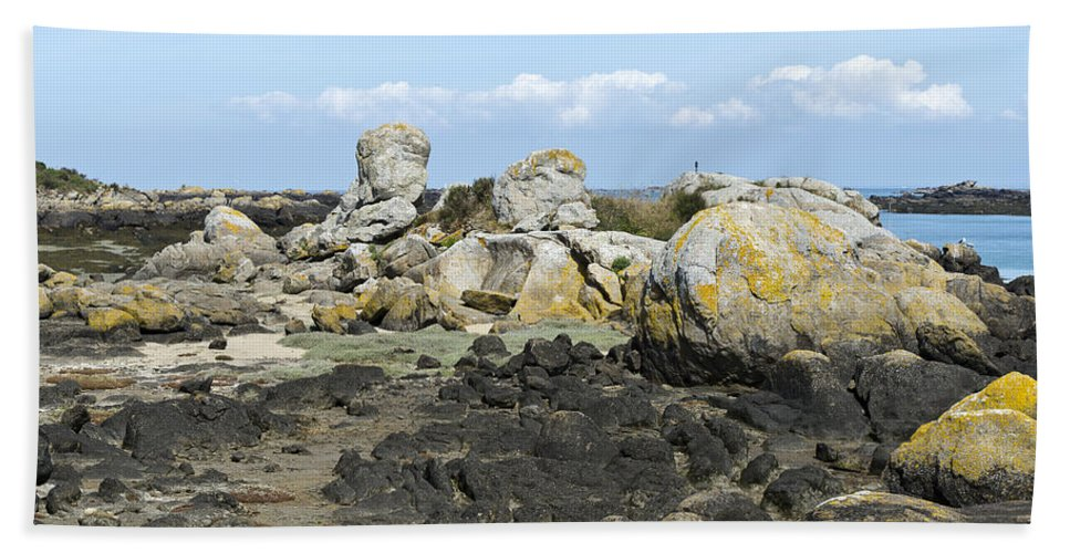 Normandy Beach Towel featuring the photograph Rocks At Low Tide Iles Chausey by Gary Eason