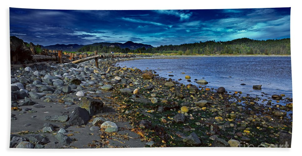 Harbor Beach Towel featuring the photograph Rocky Beach In Western Canada by Louise Heusinkveld