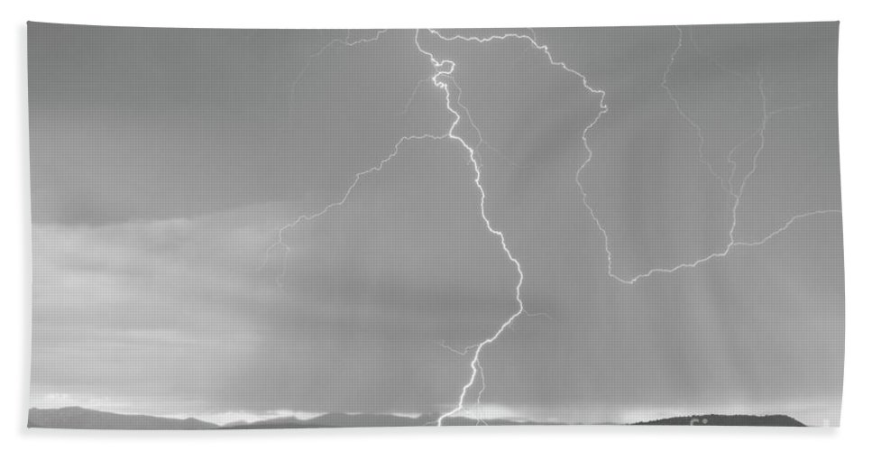 July Beach Towel featuring the photograph Rocky Mountain Front Range Foothills Lightning Strikes 1 Bw by James BO Insogna
