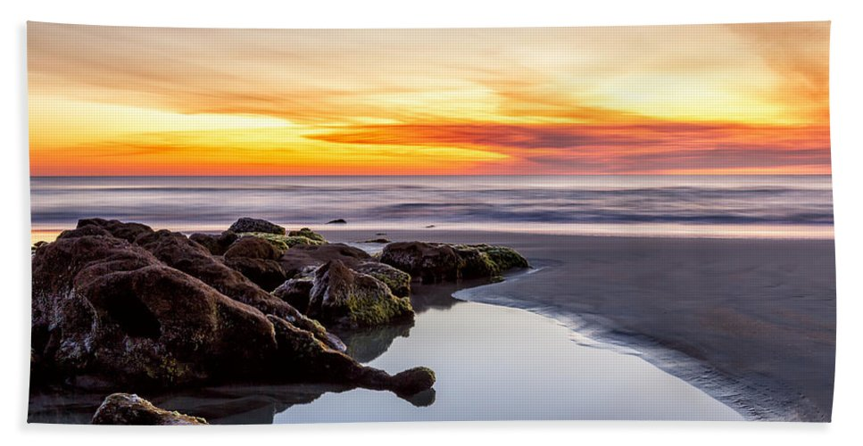 Sunrise Beach Towel featuring the photograph Rocky Shoreline by Janet Fikar