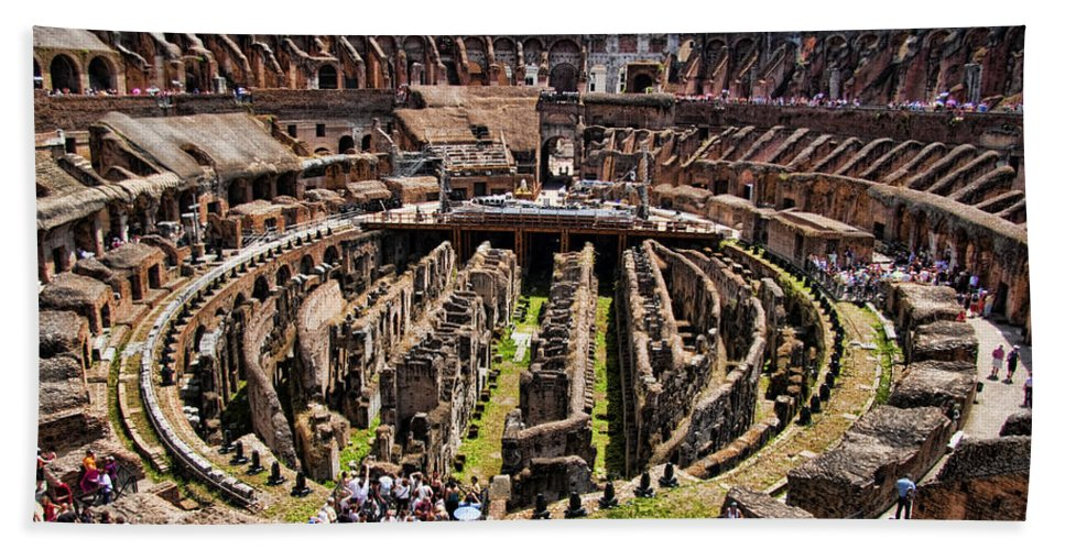 Rome Beach Towel featuring the photograph Roman Coleseum Interior by David Smith
