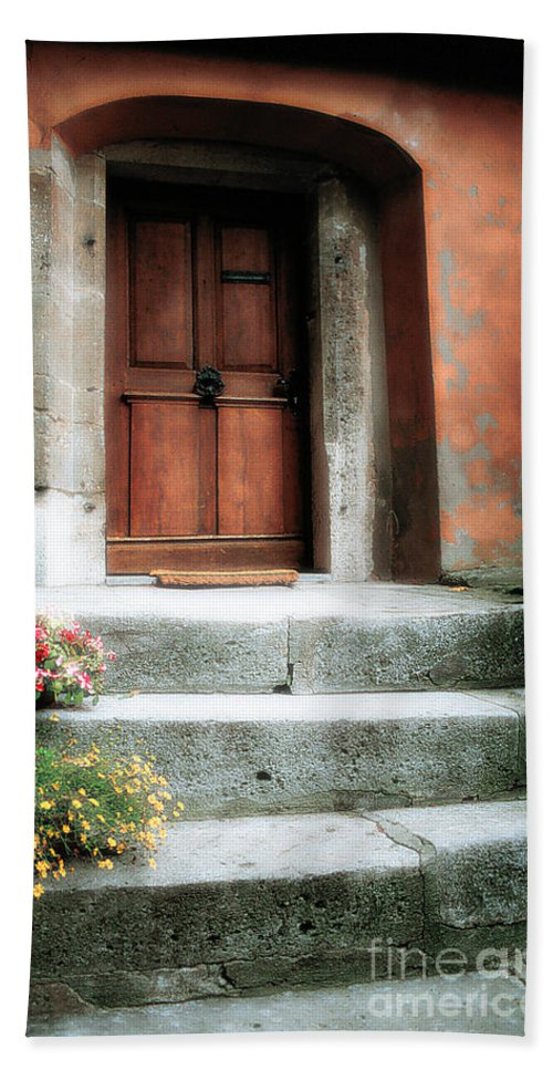 Rome Beach Towel featuring the photograph Roman Door And Steps Rome Italy by Mike Nellums
