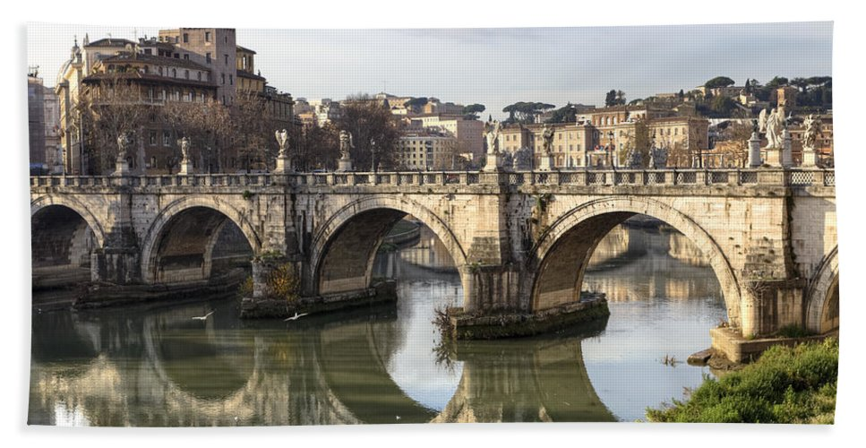 Ponte Sant'angelo Beach Towel featuring the photograph Rome - Ponte Sant'angelo by Joana Kruse