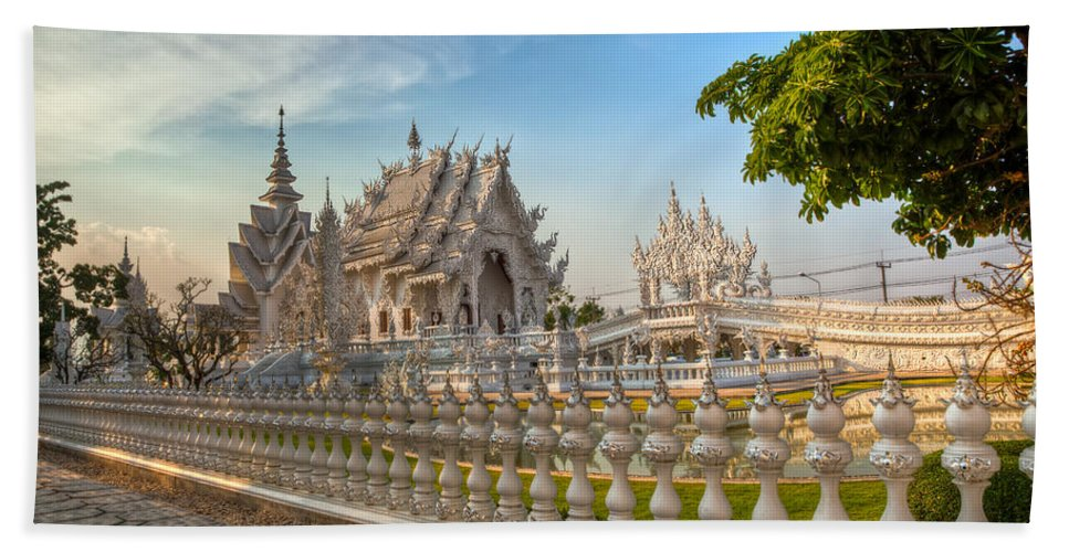 Hdr Beach Towel featuring the photograph Rong Khun Temple by Adrian Evans