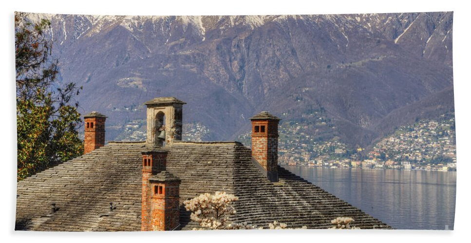 Roof Beach Towel featuring the photograph Roof With Chimney And Snow-capped Mountain by Mats Silvan