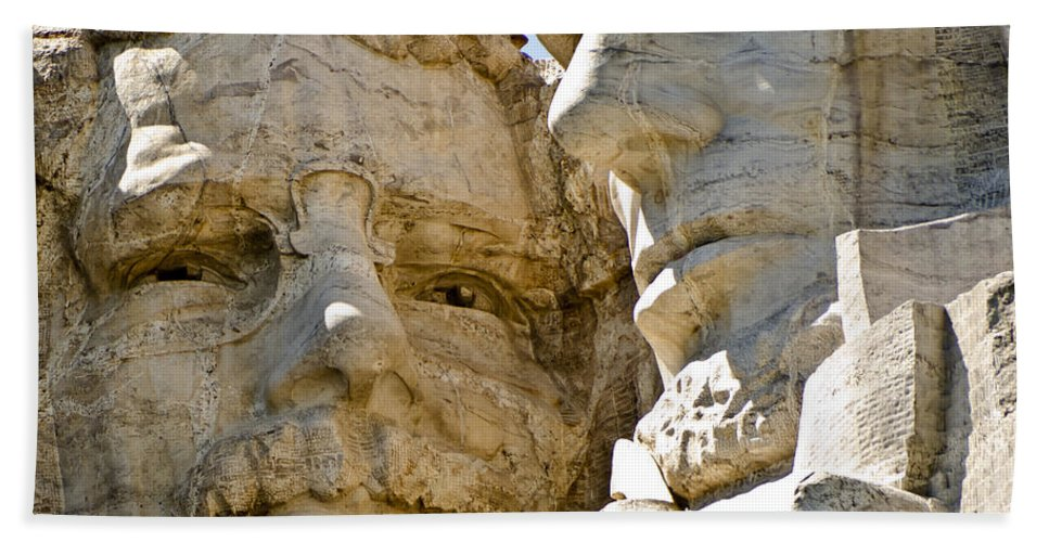 Mount Rushmore Beach Towel featuring the photograph Roosevelt On Mt Rushmore National Monument by Jon Berghoff