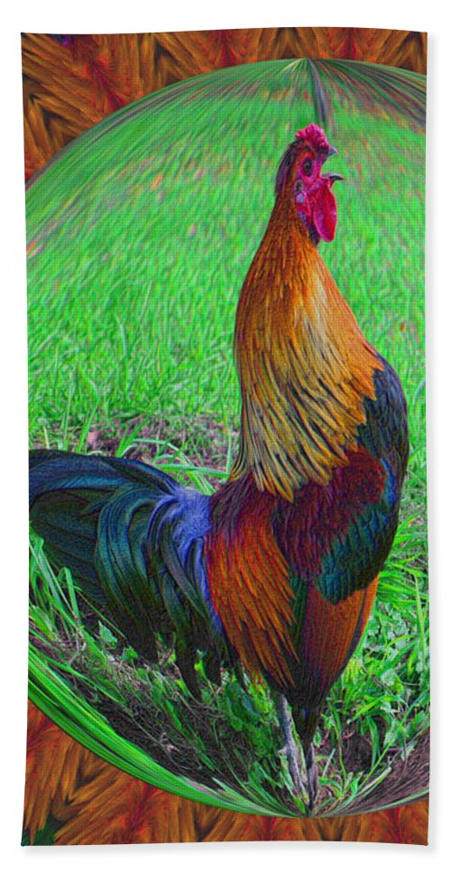 Animal Beach Towel featuring the digital art Rooster Colors by Smilin Eyes Treasures