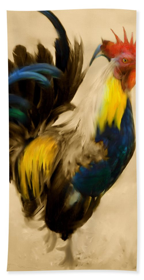 Rooster Beach Towel featuring the painting Rooster On The Prowl 2 - Vintage Tonal by Georgiana Romanovna