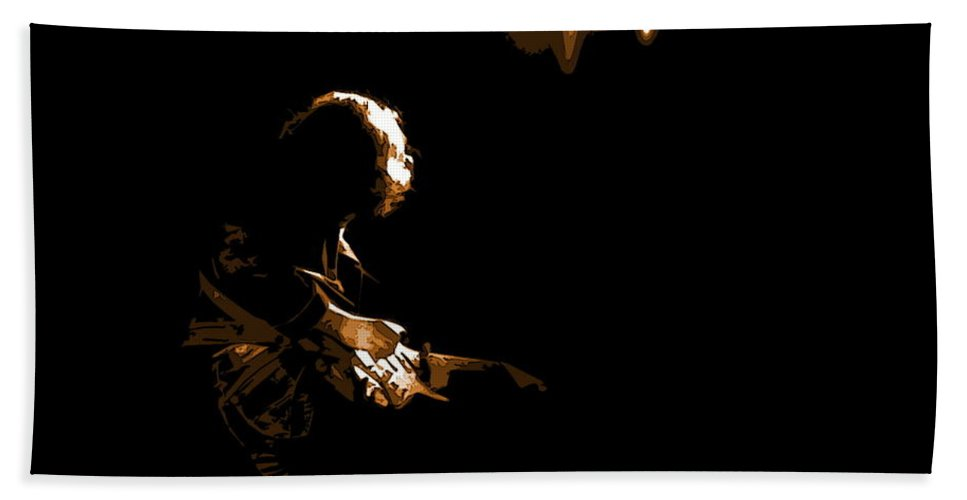 Rock Musicians Beach Towel featuring the photograph Rory Star At Night 2 by Ben Upham