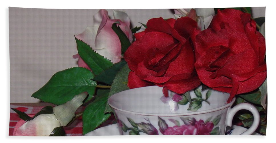 Tea Cup Beach Towel featuring the photograph Rose Tea by Nancy Patterson