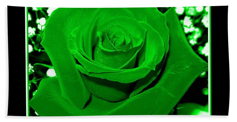 Roses Beach Towel featuring the photograph Rose With Green Coloring Added by Rose Santuci-Sofranko