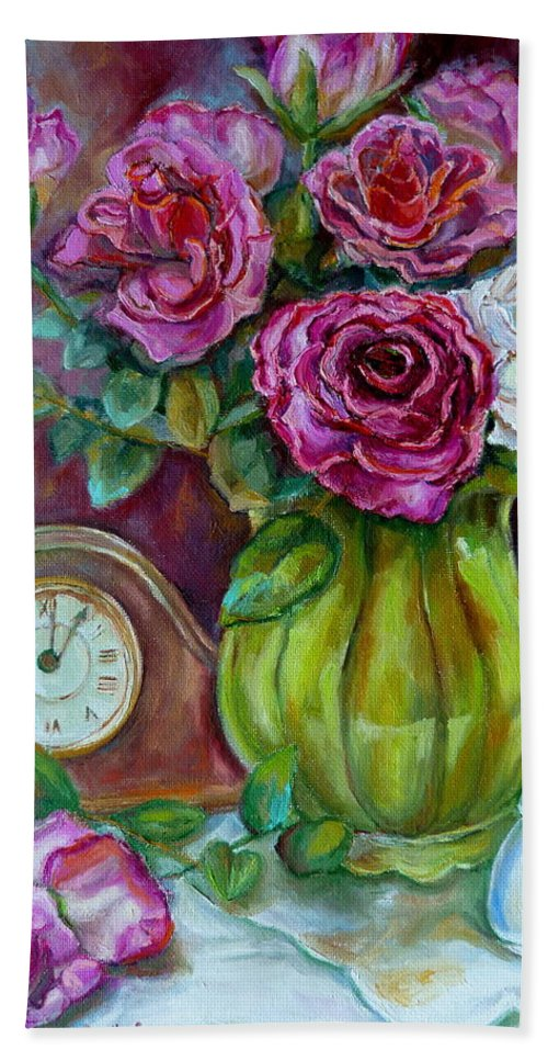 Roses Beach Towel featuring the painting Roses In A Vase Still Life by Carole Spandau