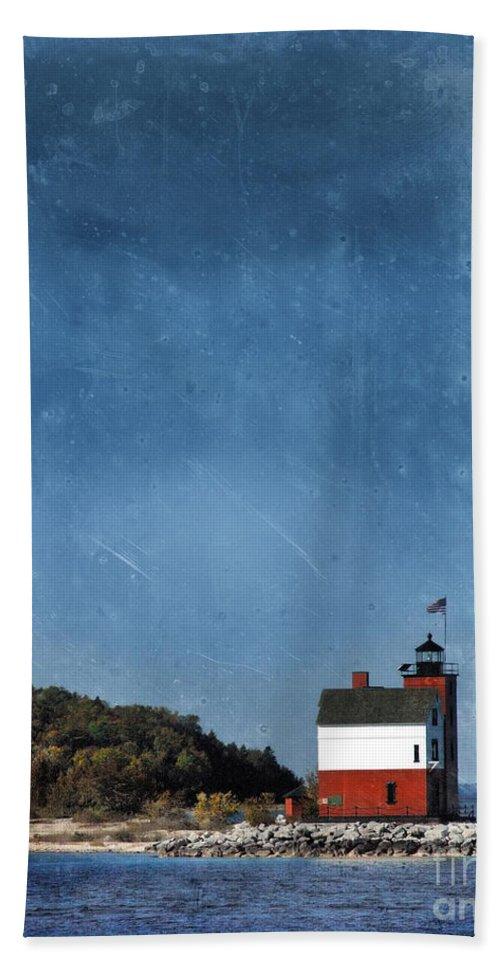 Round Island Lighthouse Beach Towel featuring the photograph Round Island Lighthouse In Michigan by Jill Battaglia