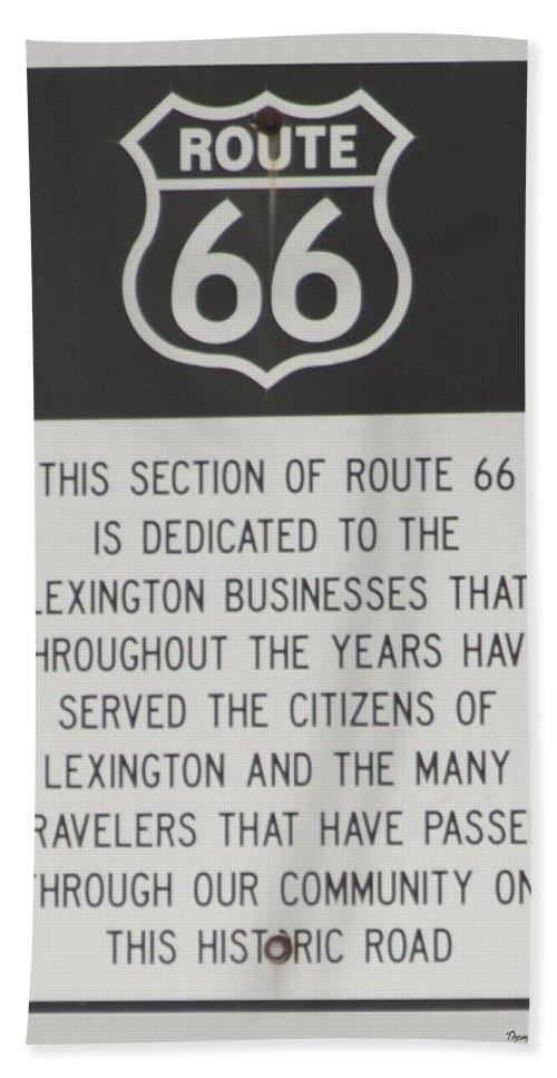 Mother Road Beach Towel featuring the photograph Rt 66 Lexington County Signage by Thomas Woolworth
