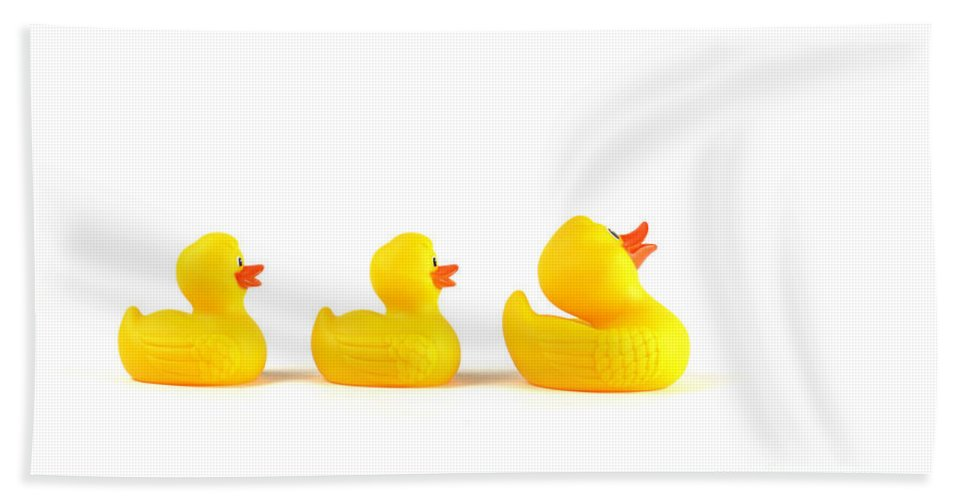 Rubber Duck Beach Towel featuring the photograph Rubber Ducks by Photo Researchers, Inc.