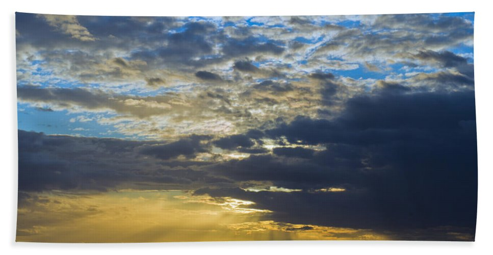 Sunset Beach Towel featuring the photograph Running Out At Sunset by Gary Eason