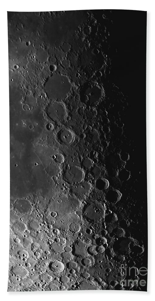 Astronomy Beach Towel featuring the photograph Rupes Recta Ridge And Craters Pitatus by Phillip Jones