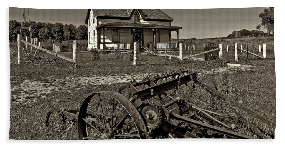 Grey Roots Museum & Archives Beach Towel featuring the photograph Rural Ontario Sepia by Steve Harrington