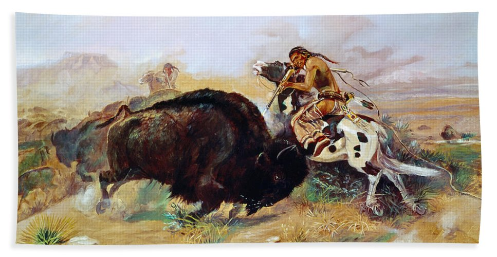 1891 Beach Towel featuring the photograph Russell: Buffalo Hunt by Granger