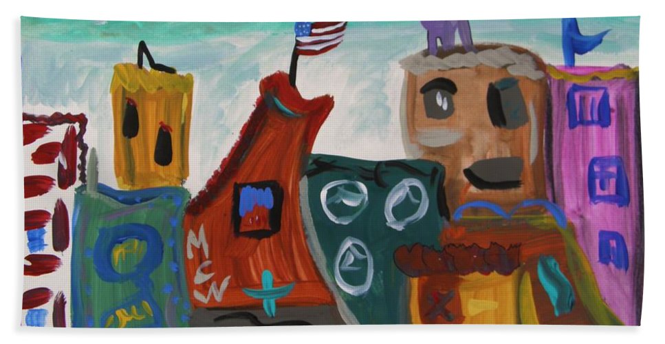 Rust Belt Revival Beach Towel featuring the painting Rust Belt Revival by Mary Carol Williams