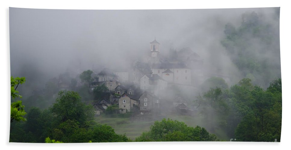 Village Beach Towel featuring the photograph Rustic Village In The Fog by Mats Silvan