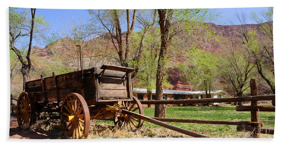 Blue Beach Towel featuring the photograph Rustic Wagon At Historic Lonely Dell Ranch - Arizona by Gary Whitton