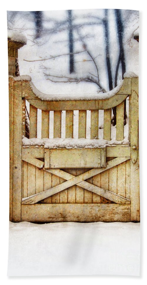 Home Beach Towel featuring the photograph Rustic Wooden Gate In Snow by Jill Battaglia