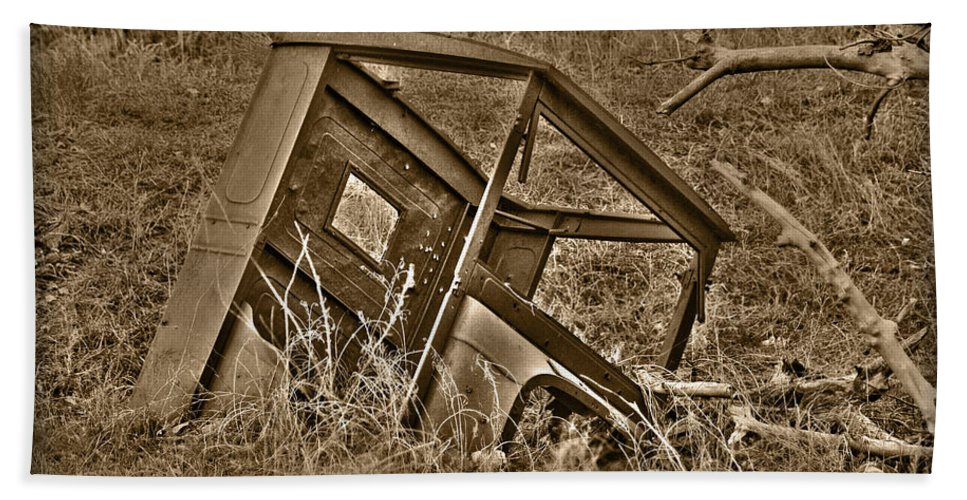 Sepia Beach Towel featuring the photograph Rusting Away by Shane Bechler