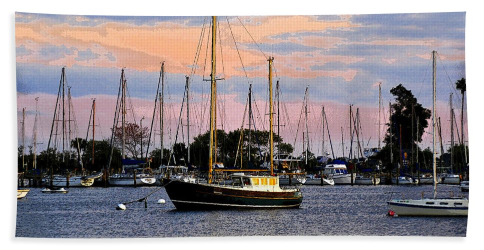 Art Beach Towel featuring the painting Safe Basin by David Lee Thompson
