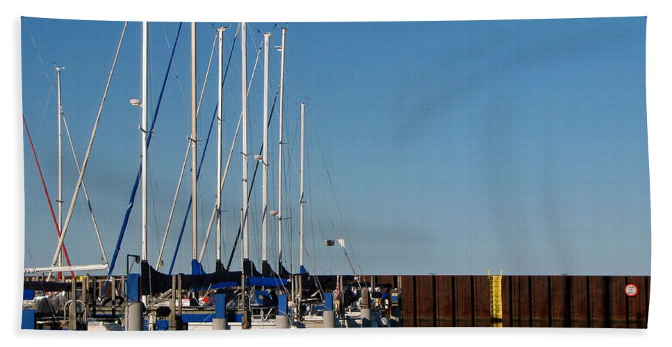 Landscape Photographs Beach Towel featuring the photograph Sailboat Docking By Break Water Wall by Ms Judi