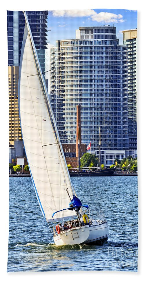 Harbor Beach Towel featuring the photograph Sailboat In Toronto Harbor by Elena Elisseeva