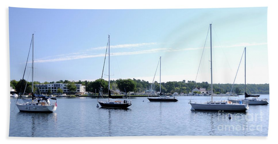 Sailboats Beach Towel featuring the photograph Sailboats In Bay by Ronald Grogan