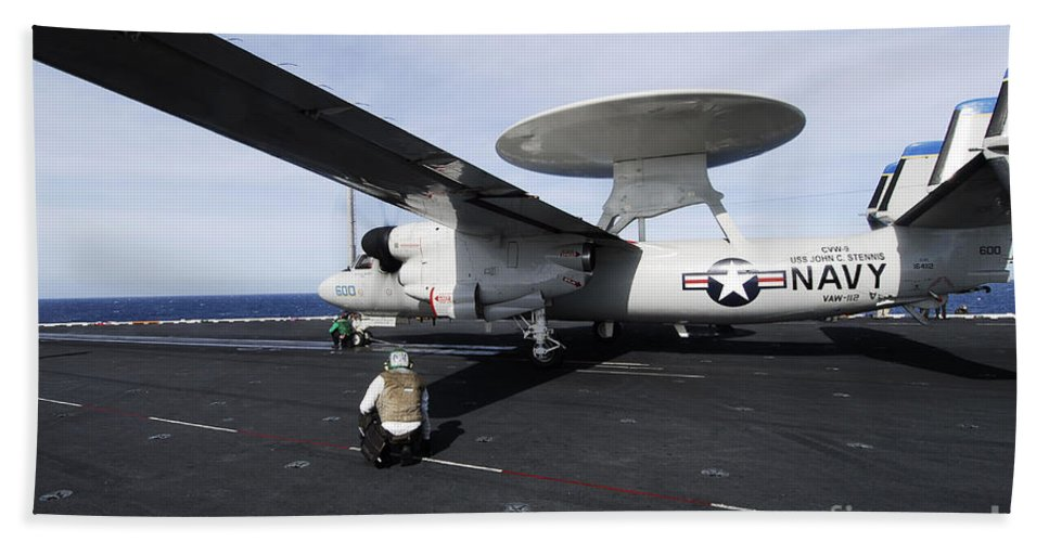 Catapult Beach Towel featuring the photograph Sailors Guide An E-2c Hawkeye by Stocktrek Images