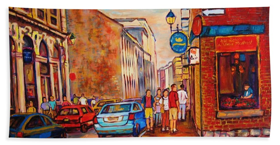 Streetscene Beach Sheet featuring the painting Saint Paul Street Montreal by Carole Spandau